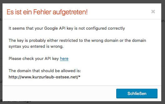 Error message after entering API key